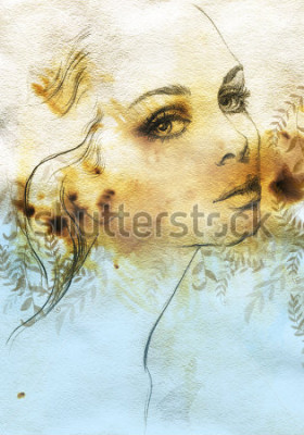 Plakát Woman face. Hand painted fashion illustration