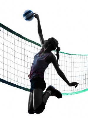 Plakát woman volleyball players isolated silhouette