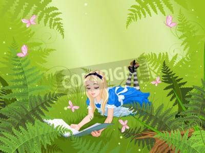 Plakát Wonderland Alice čte knihu na trávníku kapradí