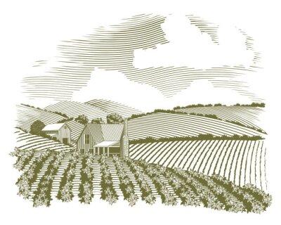 Plakát Woodcut Rural Farm House