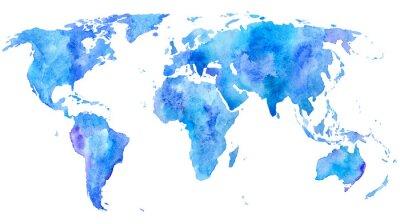 Plakát World map.Earth.Watercolor ručně kreslený ilustrace.White pozadí.