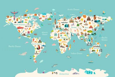 Plakát World map vector illustration. Landmarks, sight and animals hand draw icon. World vector poster for children, cute illustrated. Travel concept card