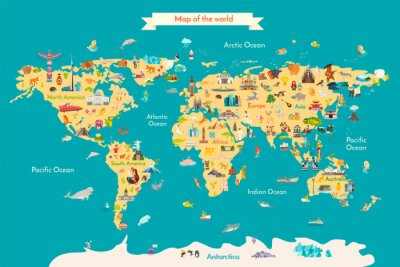 Plakát World map vector illustration with landmarks. Travel map with landmarks, animals and sight of country.