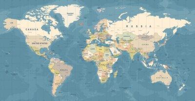 Plakát World Map vektor. Detailní ilustrace světové mapy