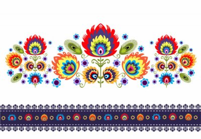 Plakát Wzór Ludowy z kwiatami