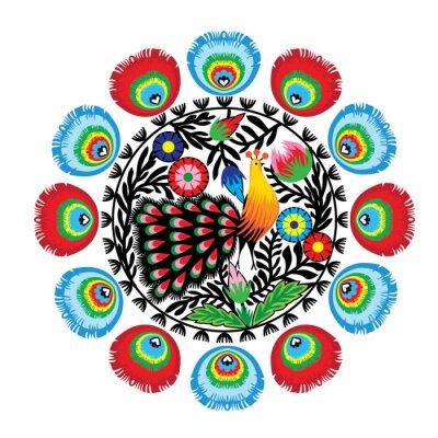 Plakát wzór ludowy z kwiatami i pawiem, łowicki
