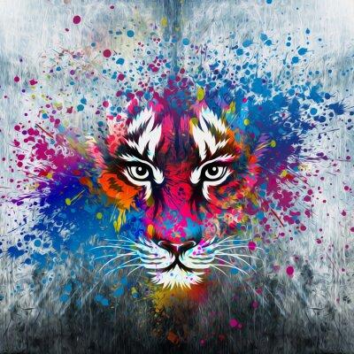 Plakát кляксы на стене.фантазия с тигром