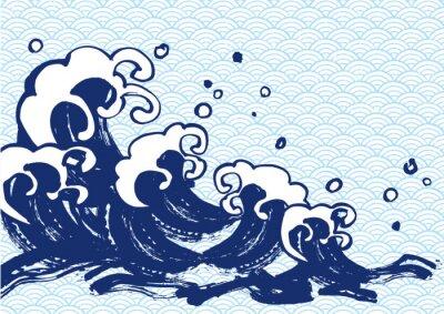 Plakát 海 毛筆 水色