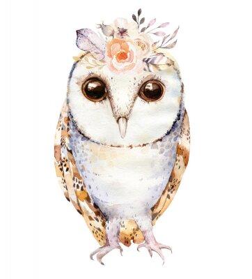 Plakát Akvarel sova s květinami a peřím. Ručně kreslené izolované sovy ilustrace s ptákem v boho stylu. Designér designu plakátů.