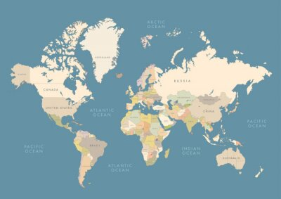 Plakát Highly detailed world map with labeling. Сountries in different color