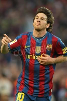 Plakát Leo Messi z Barcelony během utkání španělské ligy mezi FC Barcelona a Valladolid na stadionu Camp Nou 16. května 2010, Barcelona, Španělsko