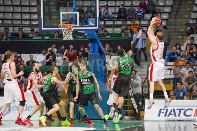 Plakát Michael Roll of Zaragoza v akci na utkání španělský basketbalové ligy mezi Joventut a CAI Zaragoza, konečné skóre 82 až 57, na 13. dubna 2014 v Badalona, Španělsko