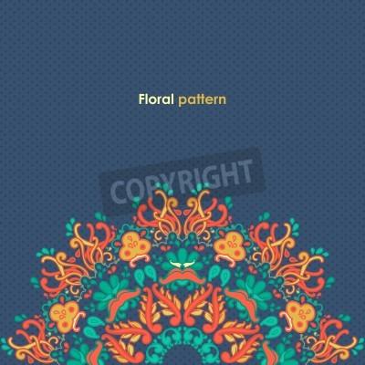 Plakát Okrasné kolo krajky květinový vzor kaleidoskopické květinový vzor, mandala
