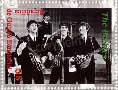 Plakát REPUBLIC GUINEA ECUTORIAL � CIRCA 2003 : The Beatles  - 1980s famous musical pop group.