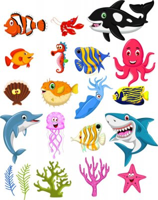 Plakát sea kolekce life cartoon