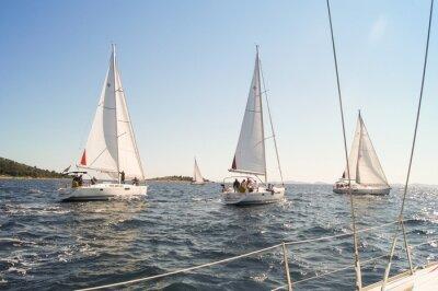 Plakát Yacht plachtění na vodě podél pobřeží