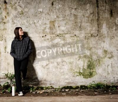 Plakát Youth plánuje graffiti nástěnná malba na prázdné, prázdné stěny
