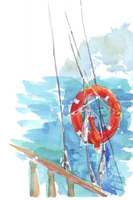 Plakát Záchranný kruh oceánu mořská akvarel ilustrační