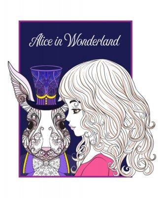 Plakát Zajíc nebo králík v klobouku z pohádky Alice ve Wonderle