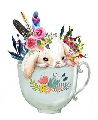 Plakát zajíc s květinami