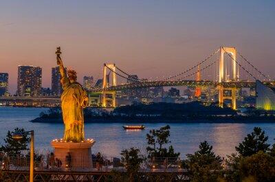 Plakát Západ slunce a Duhový most v Odaiba, Tokio