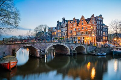 Plakát Západ slunce v Amsterdam, Nizozemsko
