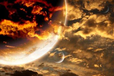 Plakát Západ slunce v oblohy bouře a cizí planetě