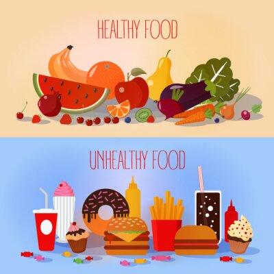 Plakát Zdravé potraviny a nezdravé rychlé občerstvení