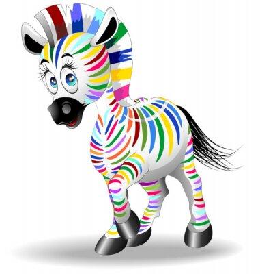 Plakát Zebra Cartoon Quadricromia-Four Color Process Zebra Vector