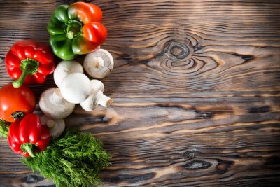 Plakát zelenina na dřevěném podkladu