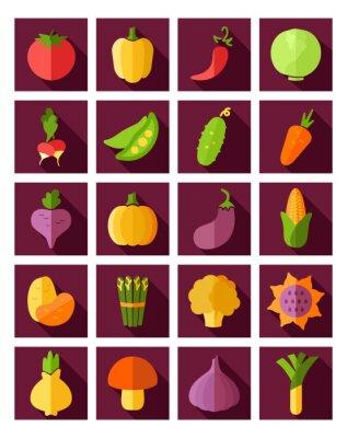 Plakát Zeleninový plochý ikona s dlouhý stín