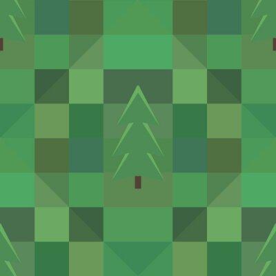 Plakát zelený čtverec vzor mnoho stromů na pozadí