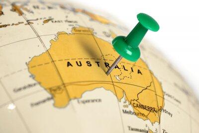 Plakát Zelený pin na mapě.