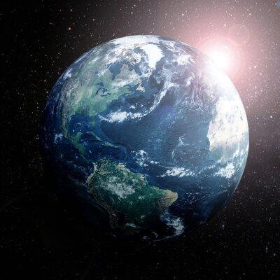 Plakát Země ve vesmíru ukazuje Evropě, Asii a Afriku