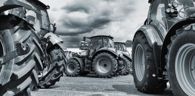 Plakát zemědělství traktor line-up, pluhy a stroje