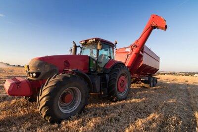 Plakát Zemědělství traktor na poli strniště