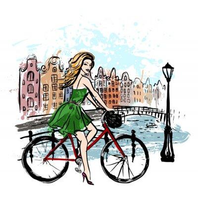 Plakát žena, která řídila kolo