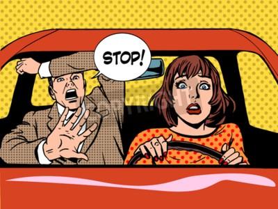 Plakát žena, která řídila řidič školního panika klidný retro stylu pop art. Car a doprava