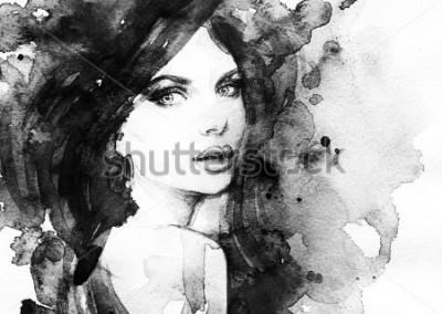 Plakát žena portrét. abstraktní akvarel. módní pozadí