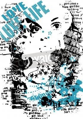 Plakát žena s graffiti street styl