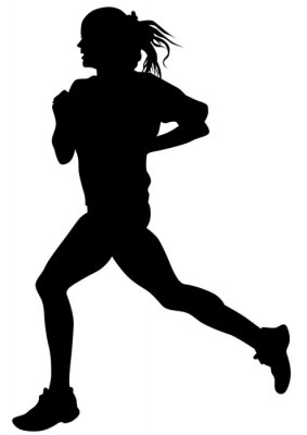 Plakát Žena sportovci na běžecký závod na bílém pozadí