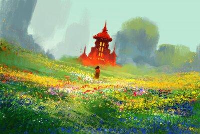 Plakát Žena v květinových polí vedle červeného hradu a hory, ilustrace malba