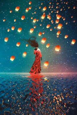 Plakát žena v šatech stojící na vodě proti lucerny plovoucí na noční obloze, ilustrace malba