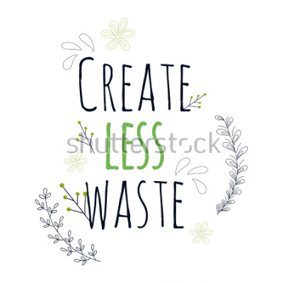 Plakát Zero Waste Concept. Hand drawn elements of zero waste life. Zero waste concept card. Good for posters, banners, web design, cards. Vector illustration.