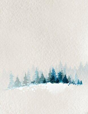 Plakát zimní krajina s jedle les a jeleny