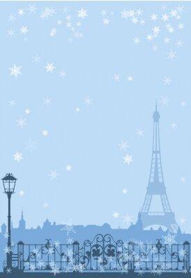 Plakát zimní Paris pozadí