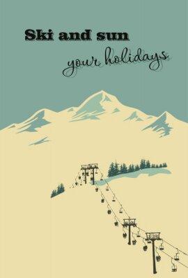 Plakát Zimní pozadí. Horská krajina s vlekem