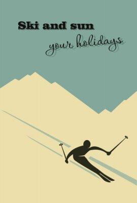 Plakát Zimní pozadí. Lyžař klouže z hory.