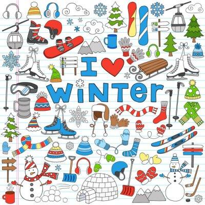 Plakát Zimní radovánky Zpátky do školy Notebook Doodles-vektorové ilustrace
