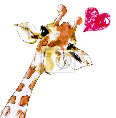 Plakát Žirafa mit Herz